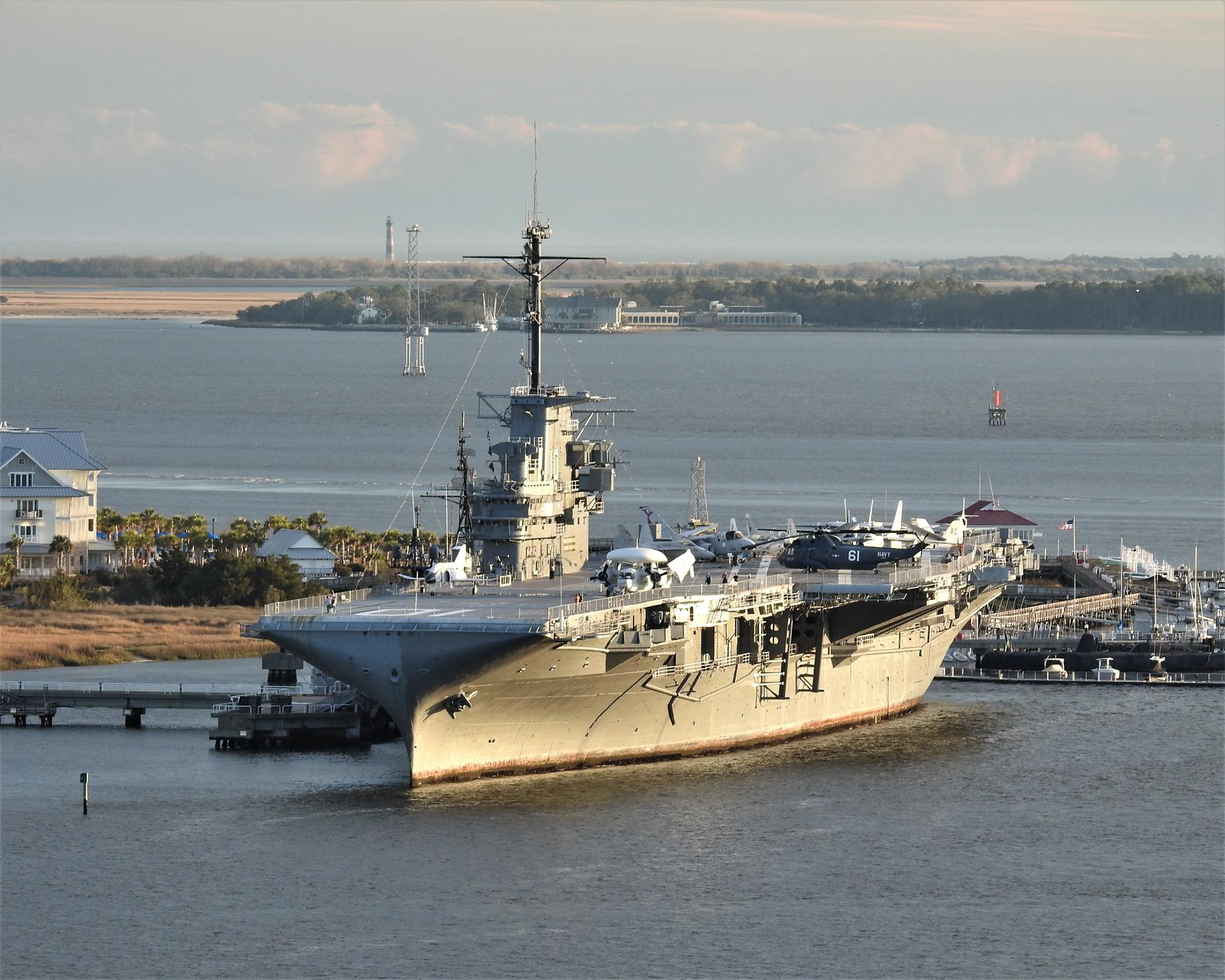 Aircraft carrier Yorktown in Charleston Harbor by Chris DeLoach Charleston Realtor